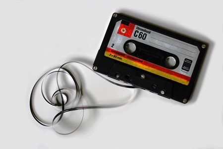 made in germany: Old music cassette from the seventies in a white background Stock Photo