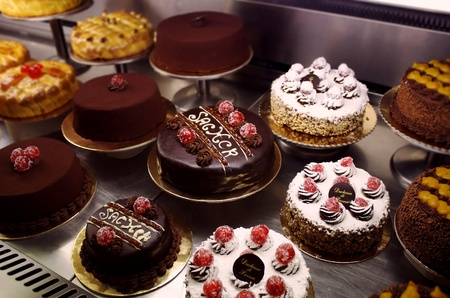 An Italian variety of different decorated cakes