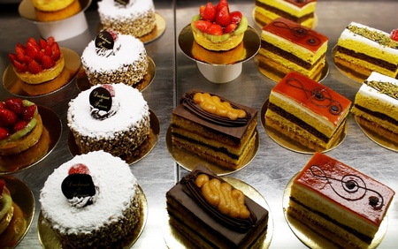 pastries: A variety of Italian decorated  pastries, cakes and slices of cakes