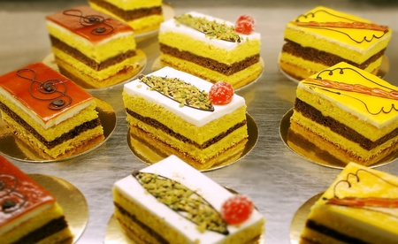 A variety of Italian decorated  pastries or little cakes