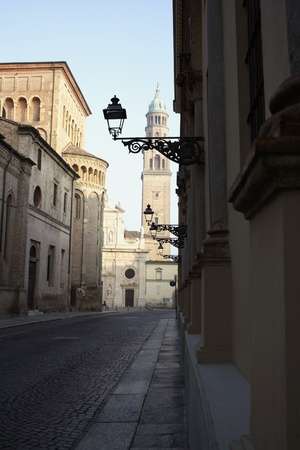 glimpse: Glimpse of a street in the historic center of Parma