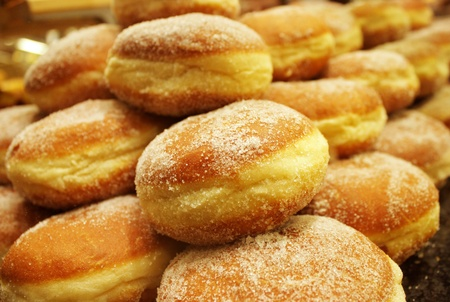 Photo of a large display of donuts Stock Photo