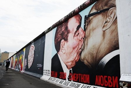 Kiss between Brezhnev and Honecker by Dimitry Vrubel on the Berlin Wall at the East Side Gallery. Photo taken on: December 4th 2011