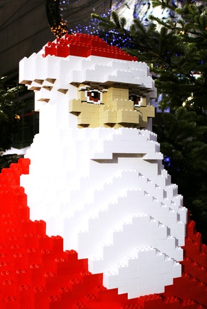A funny lego construction of Santa Claus at the Sony Center, Berlin. Photo taken on: December 5th 2011