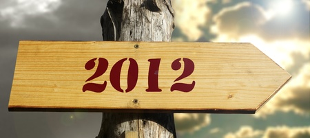 mutations: Arrow indicates the New Year 2012 with two different skies as a background