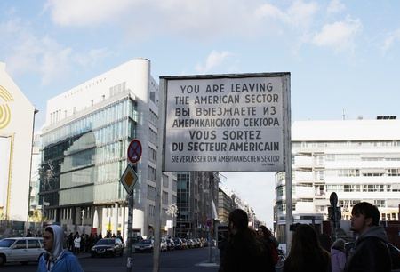 checkpoint: Checkpoint Charlie situated between East and West Berlin, Germany. Photo taken on December 7th 2011 Editorial
