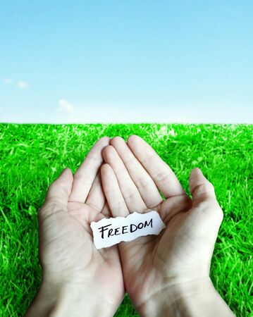 Piece of torn paper with the inscription freedom on the palms of the hands with grass and sky as background Stock Photo