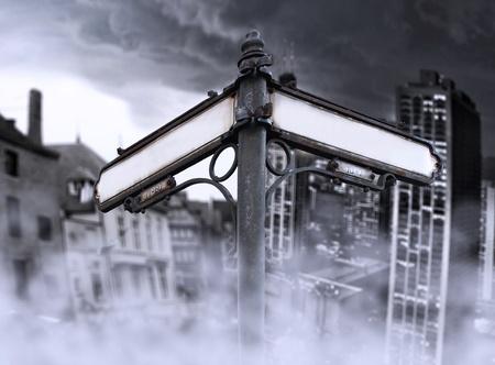 矢印を未来、過去、突然変異を示し、2 つの別の劇的なビューで、変更: バック グラウンドでの霧に包まれた古いものと新しい都市