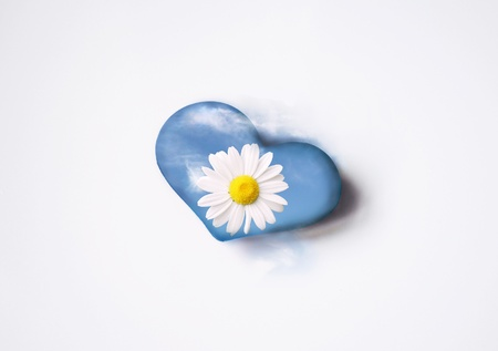 Isolated blue light heart with daisy flower and clouds on top of it