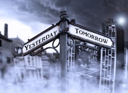 Arrows geeft Yersterday en morgen met twee verschillende dramatische weergave: oude en nieuwe stad, gehuld in mist op de achtergrond