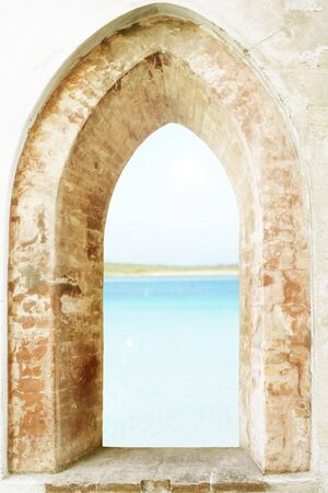 gothic window: Photo of an antique open window with a Mediterranean sea