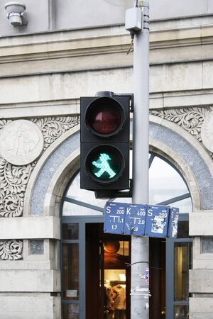 Photo of the historic walk signal traffic light  of the East Berlin photo