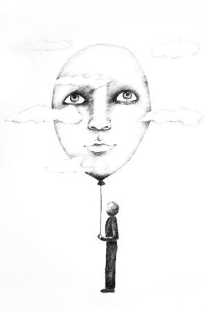 白い紙にインクのペンで描画の写真 写真素材