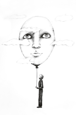 Foto van een tekening gedaan in inkt pen op wit papier Stockfoto