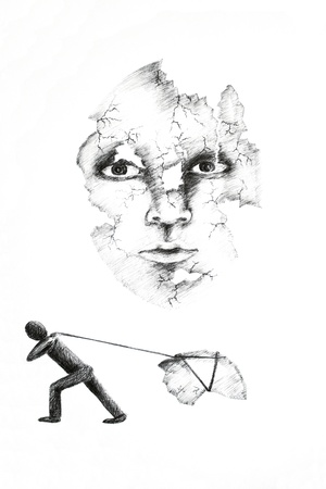 Photo of a drawing done in ink pen on white paper