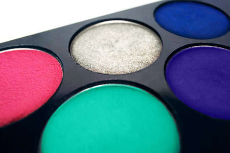 pallette: Close up of a black pallette of five different color of eyeshadows