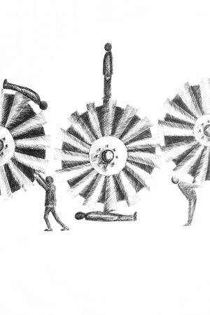 Photo of a drawing done in ink pen representing men who have to do with mechanical wheels on the white paper
