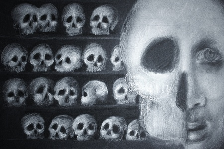 lined up: Photo of a drawing on the black cardboard represents many skulls lined up on shelves and in the foreground half face and half skull  Stock Photo