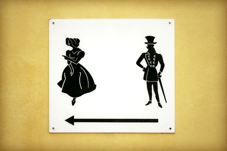 an signboard representing a lady and gentleman in an old style dress photo