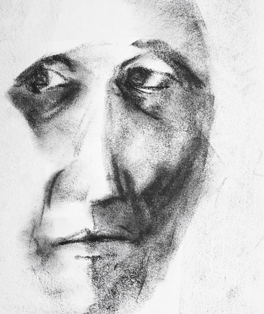 expressive face: Picture of a handmade drawing representing an old man face