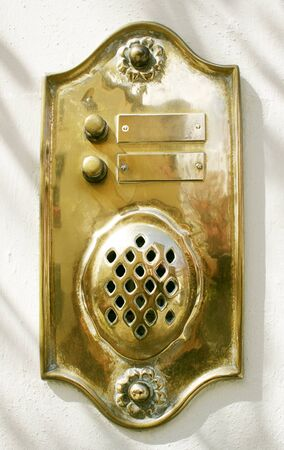 detail of a vintage doorbell made by brass Stock Photo - 13127733