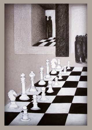 observing: illustration representing chess and stylized people that observing the move Stock Photo