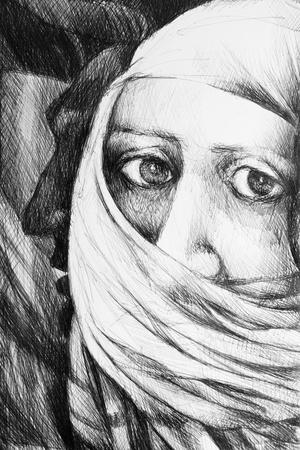 drawing representing a face of a arab woman wearing a burka 免版税图像