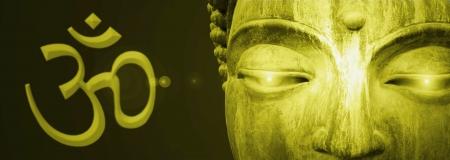 Detail van Boeddha ogen abstracte gouden