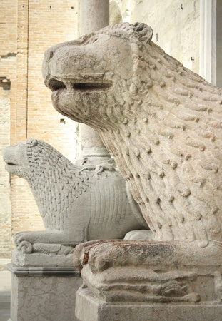 Detail of two beautiful medieval marble sculpture lions guardians  Stock Photo - 14028049