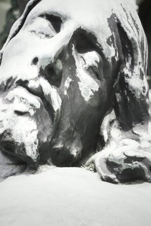 antique jesus: Detail of the face sculpture of Jesus Christ