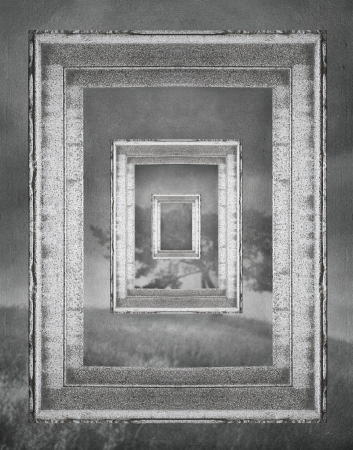 Frames with matryoshka effect, fantasy in black and white Stockfoto