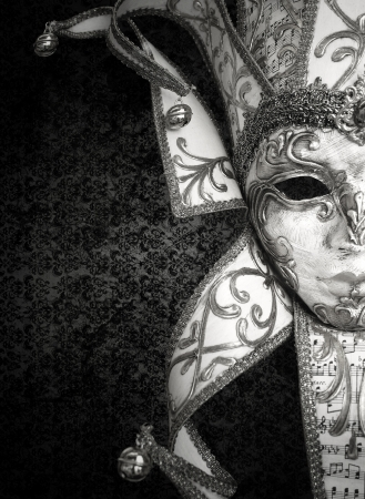 Detail of a beautiful luxury Venetian mask in black and white photo