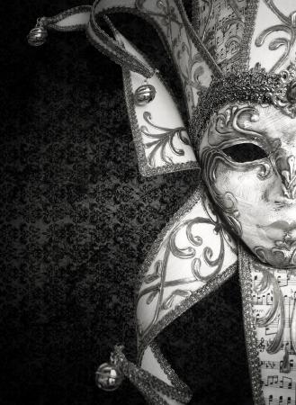 Detail van een mooie luxe Venetiaans masker in zwart-wit