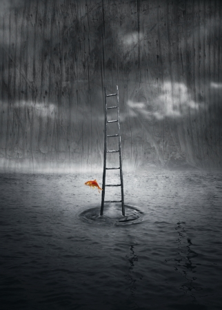 Fantasy background with a wooden ladder out of the water and a colored fish that jump out in a dramatic environment in black and white Stock Photo