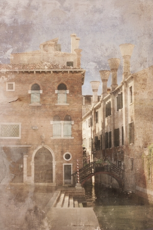 unique characteristics: Beautiful foreshortening of Venice in a vintage-old fashion effect Stock Photo