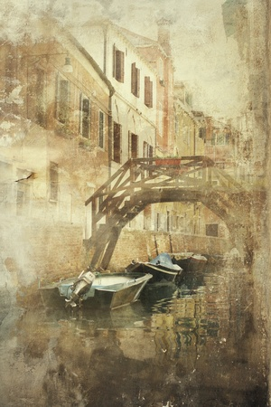 foreshortening: Beautiful foreshortening of Venice in a vintage-old fashion effect Stock Photo