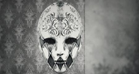 Beautiful Harlequin Venetian mask in black and white