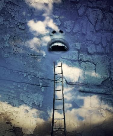 Fantasy surrealistische voorstellen van een mens open mond in de lucht met een houten ladder boven