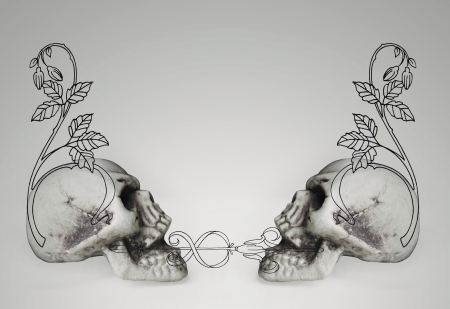 imaginative: Collage of two skulls with decorative drawings on gray background