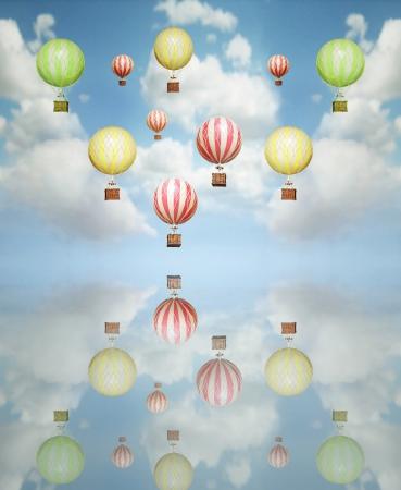 Prachtige abstracte artistieke achtergrond met vele kleurrijke hete lucht ballon in de lucht met haar reflectie boven