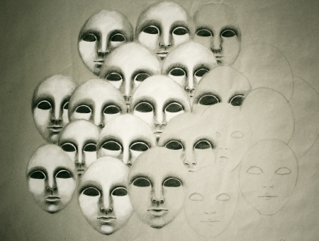 Hand drawing of a series of similar masks or faces
