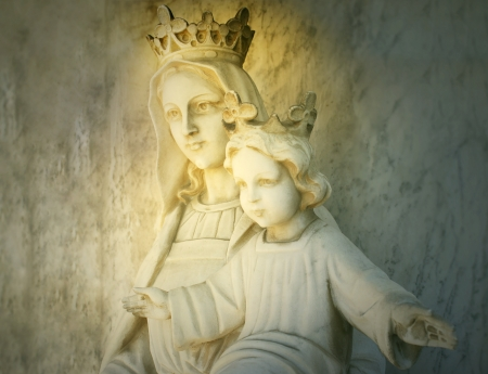 religious christmas: Beautiful sculpture of the virgin Mary and Baby Jesus Stock Photo