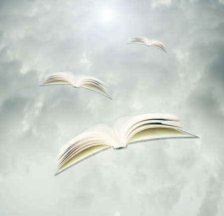 Fantasy background represent three opened books like birds in flight in a cloudy sky