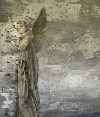 Fantasy artistic background representing a woman angel photo