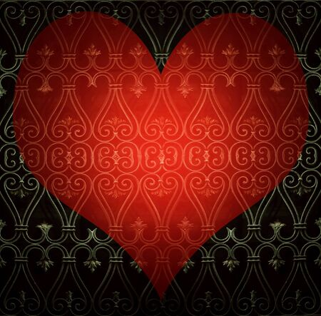 A red heart shape on a decorated window grated Stock Photo - 17384400