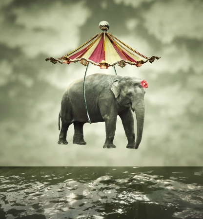 circus tent: Fanciful and artistic image that represent a flying elephant with circus tent above the water