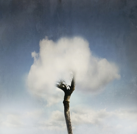 Fantasy tree with a cloud instead of crown of the tree and blue sky on the background in a vintage effect 免版税图像