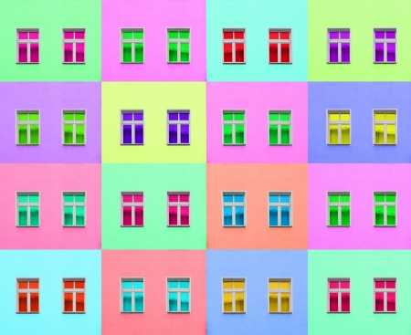 reproduced: Artistic colorful composition of two modern windows reproduced in different colors Stock Photo