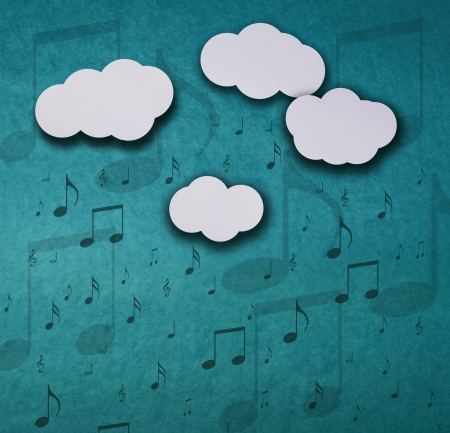 raining background: Background cardboard collage composition representing clouds, sky and notes