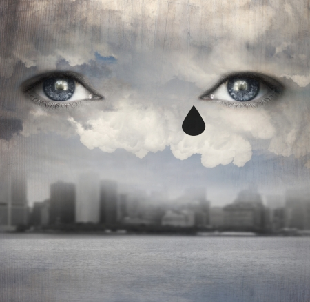Surreal background representing two human eyes crying up from the clouds with a modern skyline city and water under Stock Photo - 19291057
